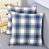 Natus Weaver Stripe Woven Soft Faux Linen Throw Cushion Case Pillow Cover With Invisible Zipper For small Sleep, 18 x 18 - inch, Navy, 2 Pieces