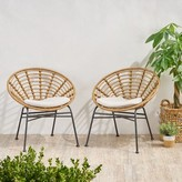 Bungalow Rose Tarrance Wicker Patio Dining Chair with Cushion Frame Color / Cushion Color: Light Brown Frame / Beige Cushion
