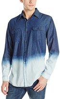 Akademiks Men's Raven Dip-Dye Denim Shirt