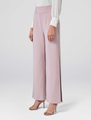 Forever New Lexi Corset Wide Leg Split Pants - Pink - 4