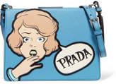Prada Frame Printed Textured-leather Shoulder Bag - Blue