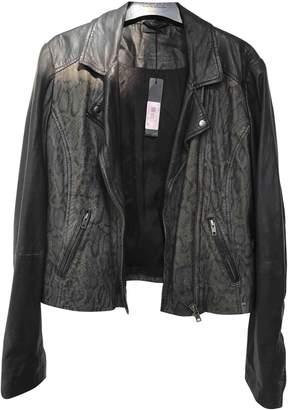Ikks Black Leather Jacket for Women