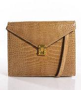 Lana of London Tan Crocodile Gold Tone Envelope Clutch Shoulder Handbag