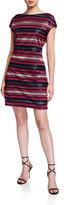 Trina Turk Breene Sequin Stripe Cap-Sleeve Shift Dress