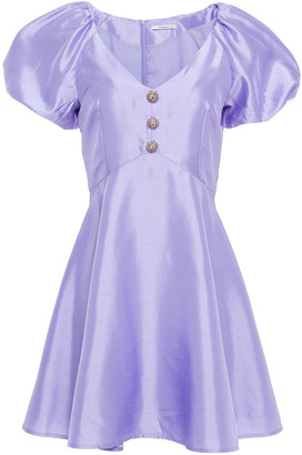 Olivia Rubin Pearl Button-embellished Shantung Mini Dress