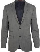 River Island MensGrey herringbone slim suit jacket