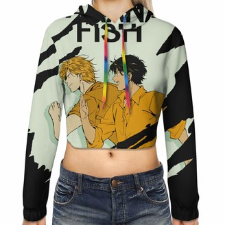 Gintamade Womens Crop Top Sweatshirts Ash Lynx Banana Fish Eiji Okumura Pullover Hooded Outwear Black