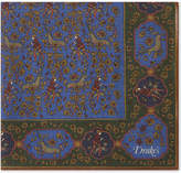 Drakes White Square Silk-blend Forest Print Pocket