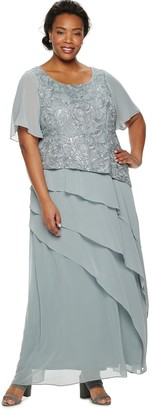 Le Bos Plus Size Embroidered Tiered Dress