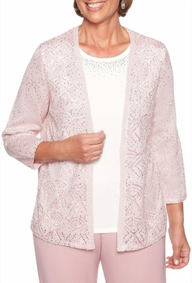 Alfred Dunner Women's Petite Pointelle Spacedye Sweater twoferstudded Neckline