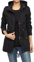 TheMogan Women's Washed Twill Hooded Utility Anorak Jacket, Black, S