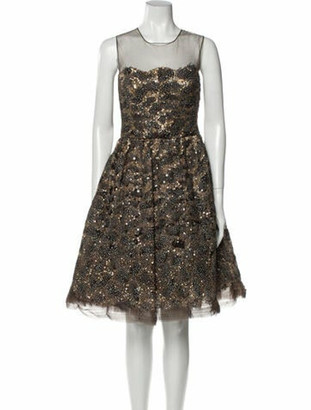 Oscar de la Renta 2008 Knee-Length Dress Brown