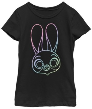 Fifth Sun Disney Zootopia Big Girls Judy Rainbow Outline Face Short Sleeve T-Shirt