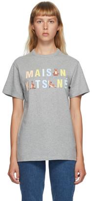 MAISON KITSUNÉ Grey Rainbow Yoga Foxes T-Shirt