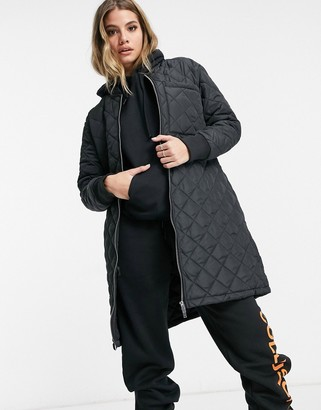 Brave Soul orlando diamond quilted longline coat in black