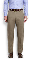 Lands' End Men's Long Plain Front Traditional Fit No Iron Twill Dress Pants-French Walnut Heather