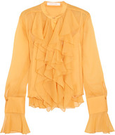 See by Chloe Ruffled Crepon Blouse - Marigold