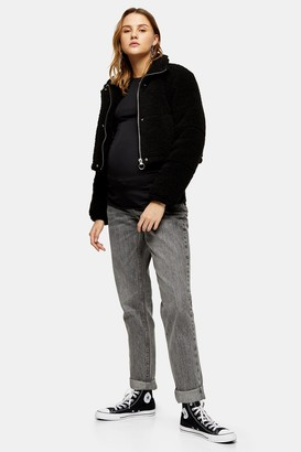 Topshop Womens **Maternity Over The Bump Mom Jeans In Grey - Grey