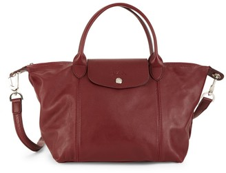 Longchamp Small Le Pliage Leather Top Handle Bag