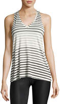 Beyond Yoga Bring It Ommmbre Striped Racer Tank Top, Gray Pattern