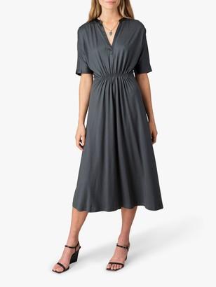 Jigsaw Shirred Waist Kimono Dress, Seaweed