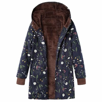 Kalorywee Sale Womens Winter Warm Outwear Floral Print Hooded Pockets Vintage Oversize Coats