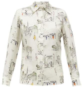 La Prestic Ouiston Joana Paris-print Silk-twill Shirt - White Multi