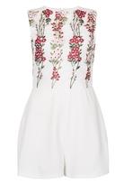 Quiz White Embroidered Mesh Sleeveless Playsuit