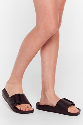 Nasty Gal Womens Fasten Your Seat Belt Faux Leather Sliders - Black - 3