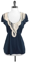 Yoana Baraschi Baraschi Slate Blue & Ivory Cotton Top