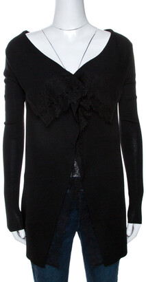 Valentino Black Knit Lace Trim Waterfall Front Cardigan M