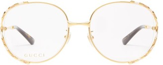 Gucci Oversized Round Metal Glasses - Womens - Gold