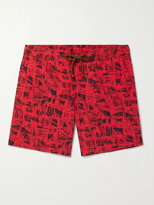 Thorsun Charvet Mid-Length Printed Swim Shorts - Men - Red