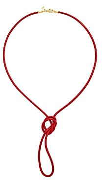 Temple St. Clair 18K Yellow Gold Classic Red Leather Cord Necklace, 32