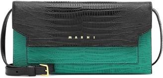Marni Croc-effect leather shoulder bag