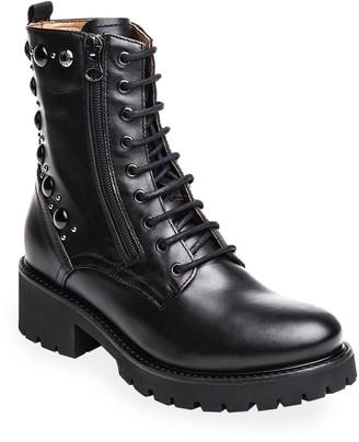 Nero Giardini Studded Leather Combat Booties