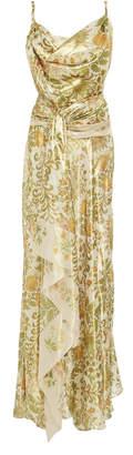 Oscar de la Renta Draped Printed Silk-Blend Lamé Dress