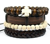 Tag Twenty Two 4 Pack Cross Bracelet Set with Leather and Wood / Cross Bracelet