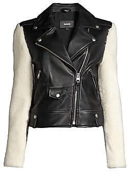 Mackage Women's Baya Shearling-Sleeve Leather Moto Jacket