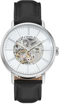 Chaps Men's Dunham Leather Automatic Skeleton Watch