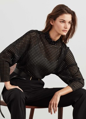 St. John Grid Knit Mock Neck Top