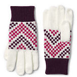 Classic Girls Fair Isle Knit Gloves-Tangerine/Cobalt Stripe