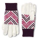 Lands' End Girls Fair Isle Knit Gloves-Blush Pink