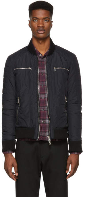 Balmain Black Print Teddy Bomber Jacket