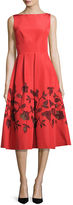 Lela Rose Embellished Laser-Cut Floral Dress, Coral