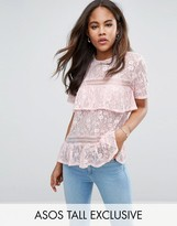 ASOS Tall ASOS TALL Lace Top With Tiers And Dip Back