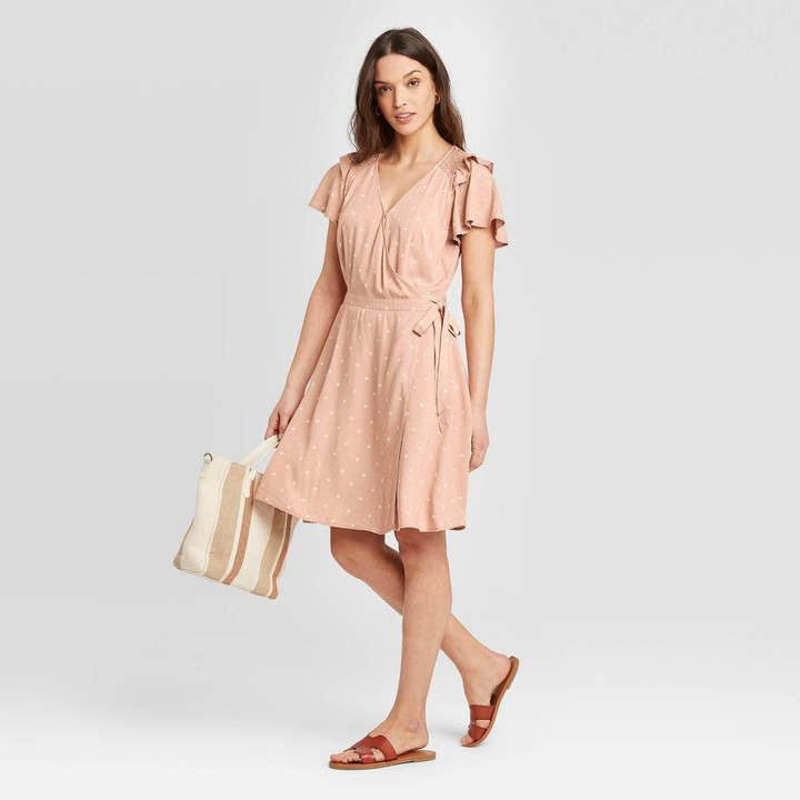 Universal Thread Women's Polka Dot Short Sleeve Ruffle Wrap Dress - Universal ThreadTM