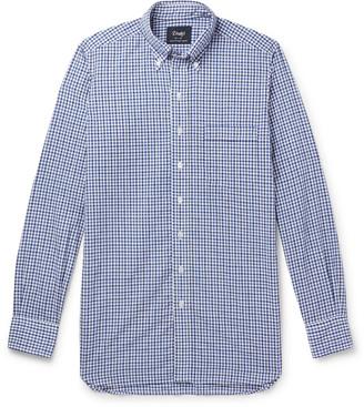 Drakes Button-Down Collar Gingham Cotton And Linen-Blend Shirt