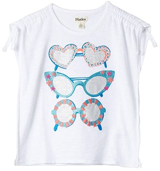Hatley Snazzy Sunglasses Cinched Shoulder Tee (Toddler/Little Kids/Big Kids) (White) Girl's Clothing