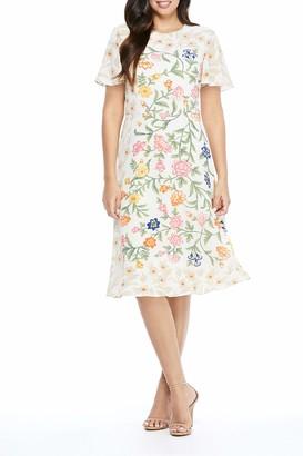 Maggy London Women's Jewel Neck Flutter Sleeve Midi Dress
